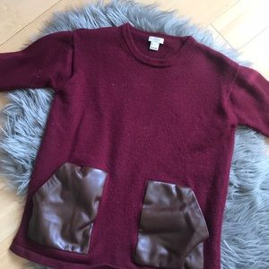 J.Crew burgundy sweater with faux leather pockets